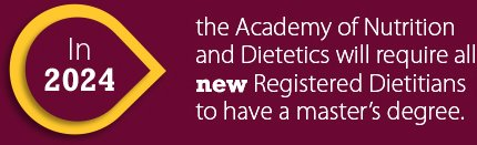In 2024, the Academy of Nutrition and Dieticians will require all new Registered Dietitians to have a master's degree.