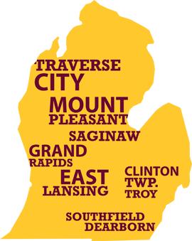 Map of CMU Michigan Centers